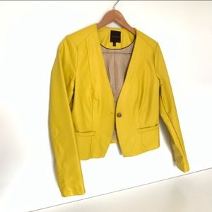 The Limited Faux Leather Jacket Mustard Yellow